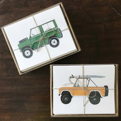 Holly Graham Fine Art Holly Graham Vintage SUV Notecards - Orange Bronco w/ Surfboards