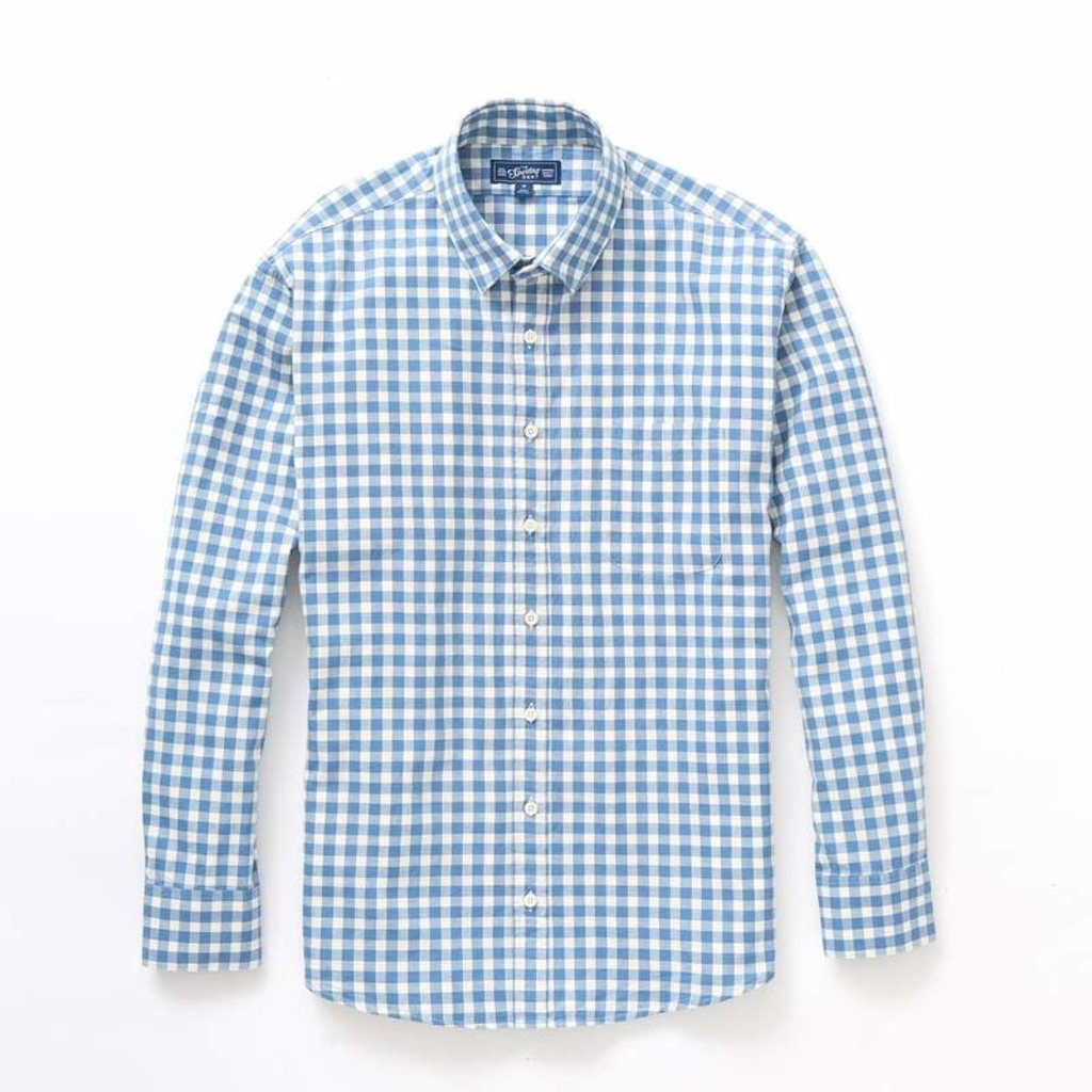 The Sporting Gent TSG Button Down Shirt - Steel Blue & White