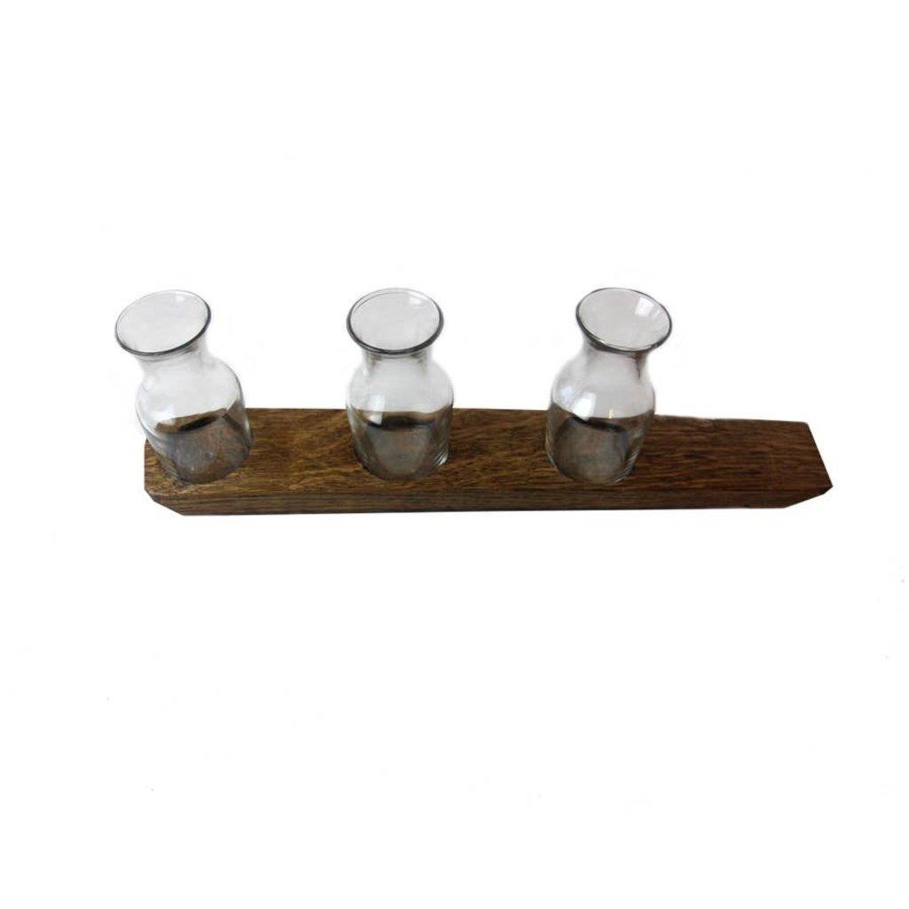Faire Bourbon Barrel Wood 3 Glass Wine Carafe Flight