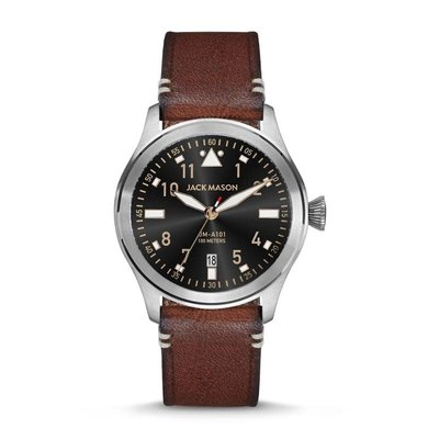 Jack Mason Jack Mason Aviator Watch 42mm - Black Dial w/ Brown Leather Strap