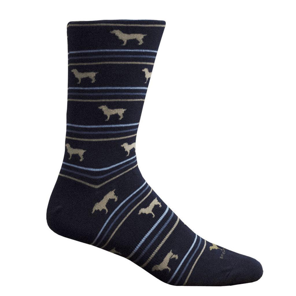 Brown Dog Hosiery Co. Brown Dog Hosiery Boykin Stripe Socks - Navy