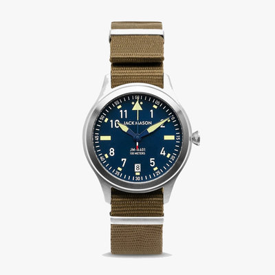 Jack Mason Jack Mason Aviator 38 mm Watch -  Navy Dial w/ Olive Nato
