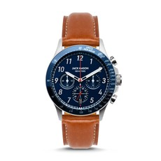 Jack Mason Jack Mason Camber Chronograph 42 mm Watch (Navy Dial w/ Tan Leather)