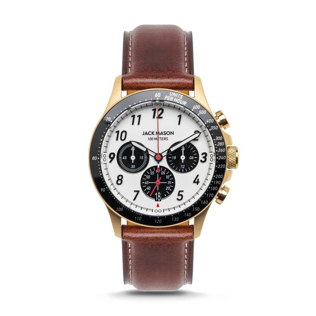 Jack Mason Jack Mason Camber Chronograph 42 mm Watch (White Dial w/ Brown Leather)