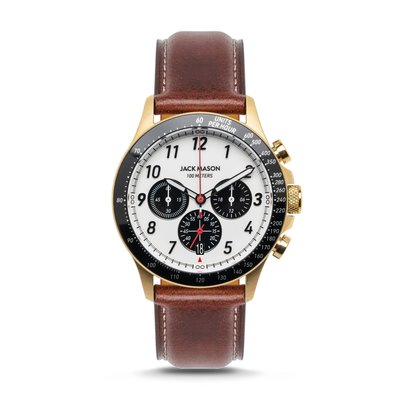 Jack Mason Jack Mason Camber Chronograph 42 mm Watch (White Dial w/ Brown Leather)