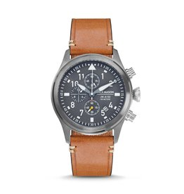 Jack Mason Jack Mason Aviator Chronograph 42mm (Gun Metal Case & Grey Dial w/ Tan Leather)