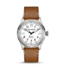 Jack Mason Jack Mason Aviator Watch 42mm (White Dial w/ Saddle Leather)
