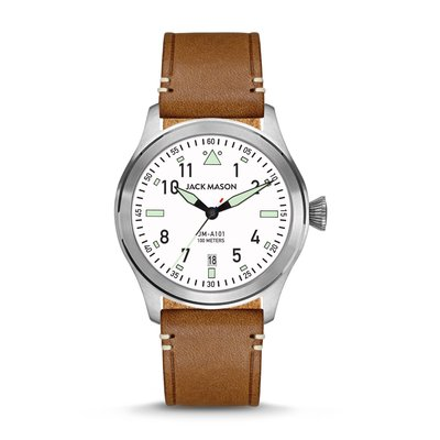 Jack Mason Jack Mason Aviator Watch 42mm (White Dial w/ Saddle Leather)