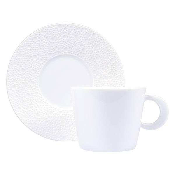 Bernardaud Ecume White Tea Cup & Saucer Set