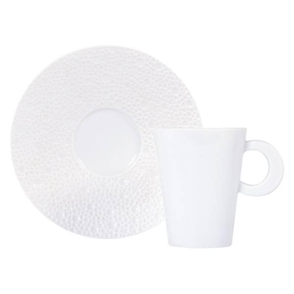 Bernardaud Ecume White Espresso Cup & Saucer Set