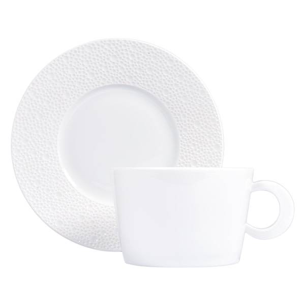 Bernardaud Ecume White Breakfast Cup & Saucer Set