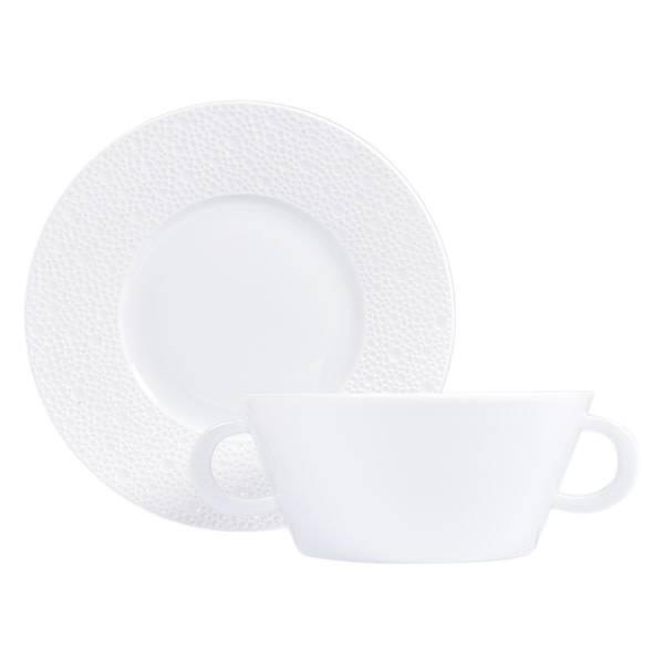 Bernardaud Ecume White Cream Soup Cup & Saucer Set