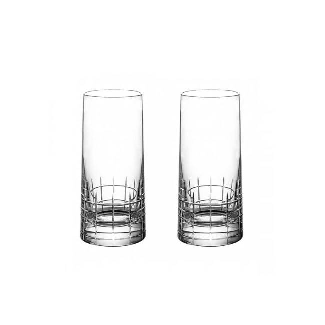 Christofle Graphik Crystal Highball Glassn S/2