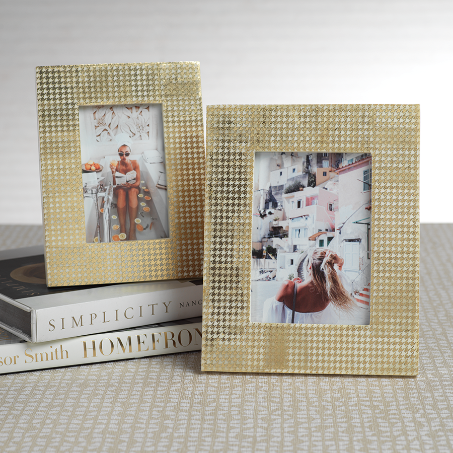 Gold Houndstooth Photo Frame 5x7