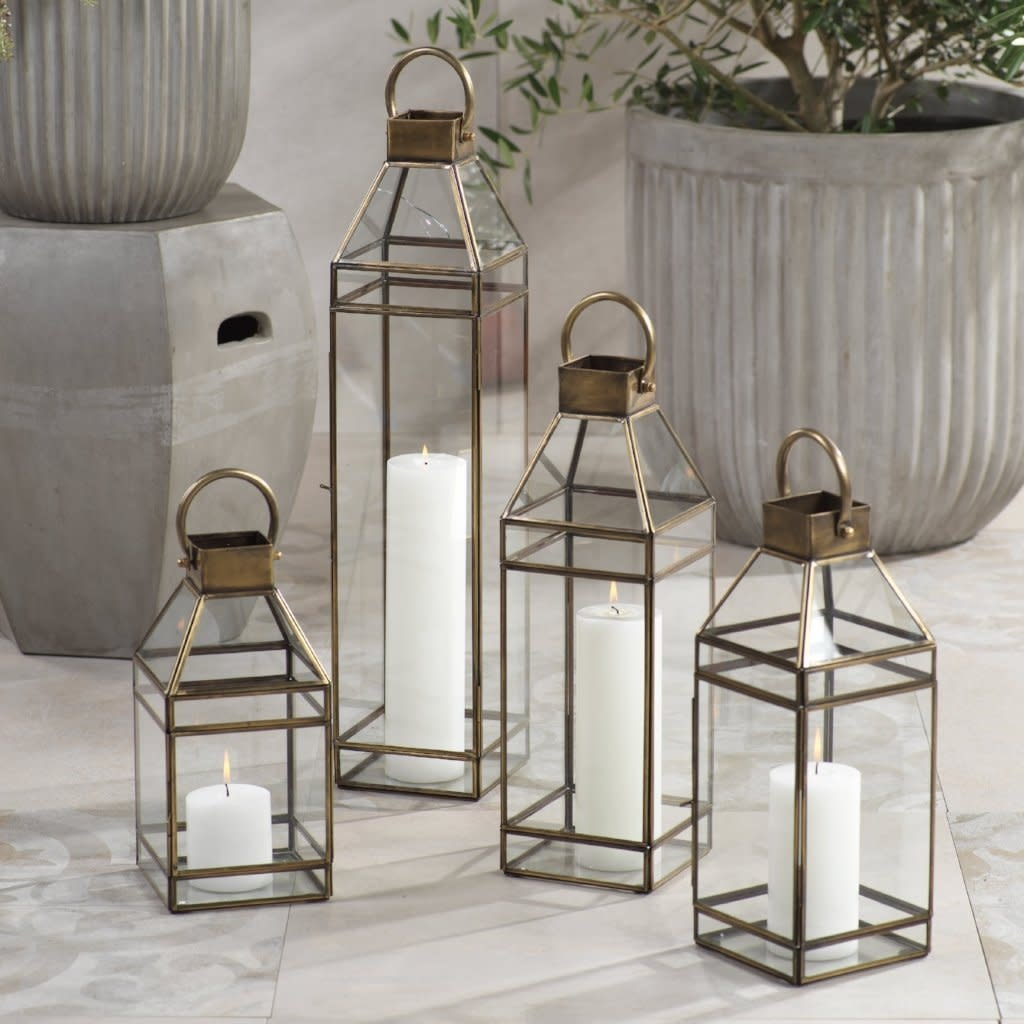 "Medici Antique Brass Lantern 15"""