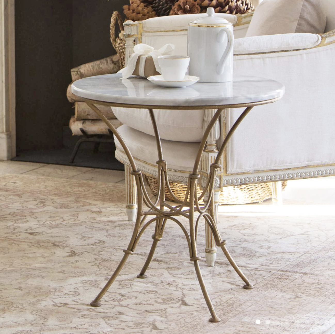 Parisian Side Table in Worn Gold Finish