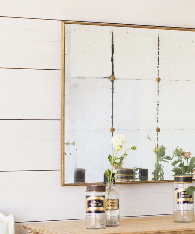 Bistro Mirror in Distressed Gold Finish