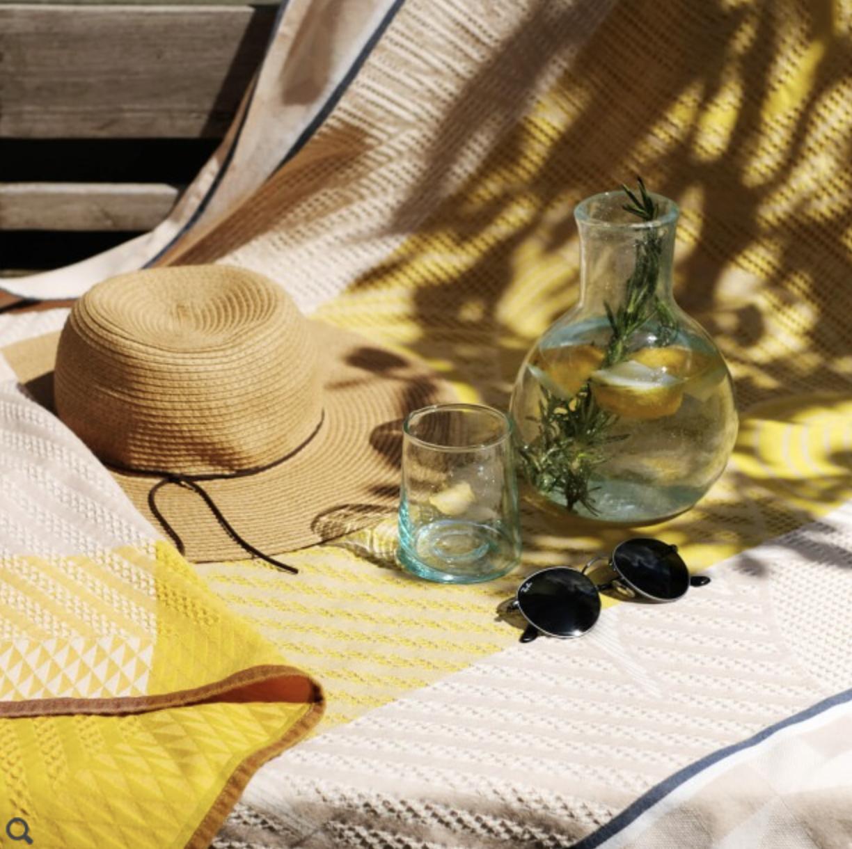 "Le Jacquard Francais Baignade A Socoa Beige Beach Towel 39"" x 79"""