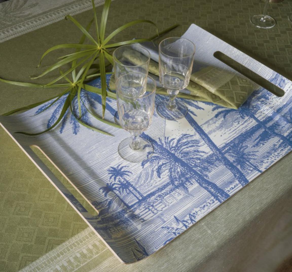 """Le Jacquard Francais Crosiere Sur Le Nil Palm Tray 23""""x16"""""""