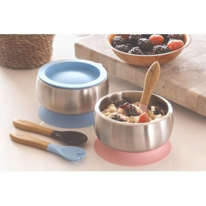 Avanchy - Stay Put Baby Stainless Suction Bowl - Pink