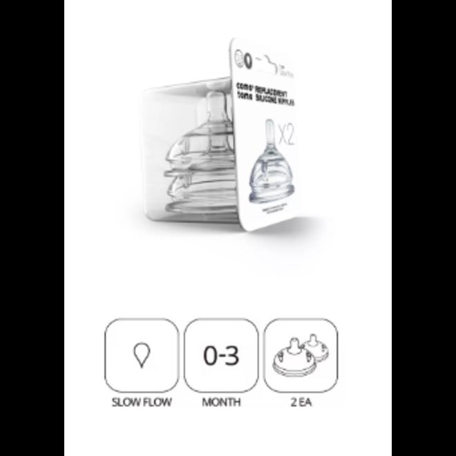 Comotomo - Natural Teat Silicone Nipples (Slow Flow)