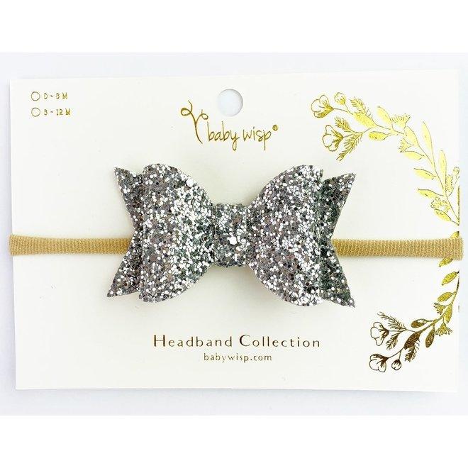 Babywisp - Bow Headband - Silver Glitter
