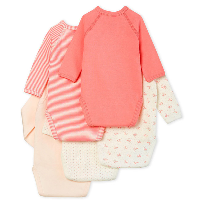 Newborn Babies' Long-Sleeved Bodysuit - 5-Piece Set Pink