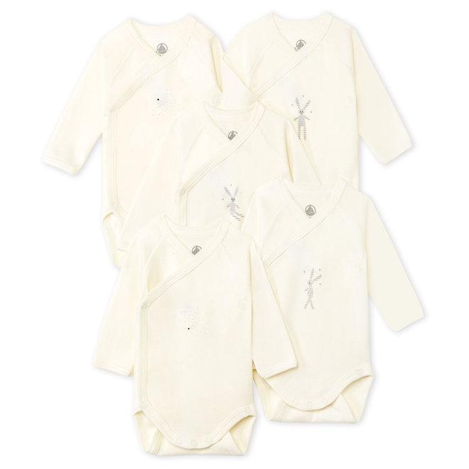 Newborn Babies' Long-Sleeved Bodysuit - 5-Piece Set White Bunny