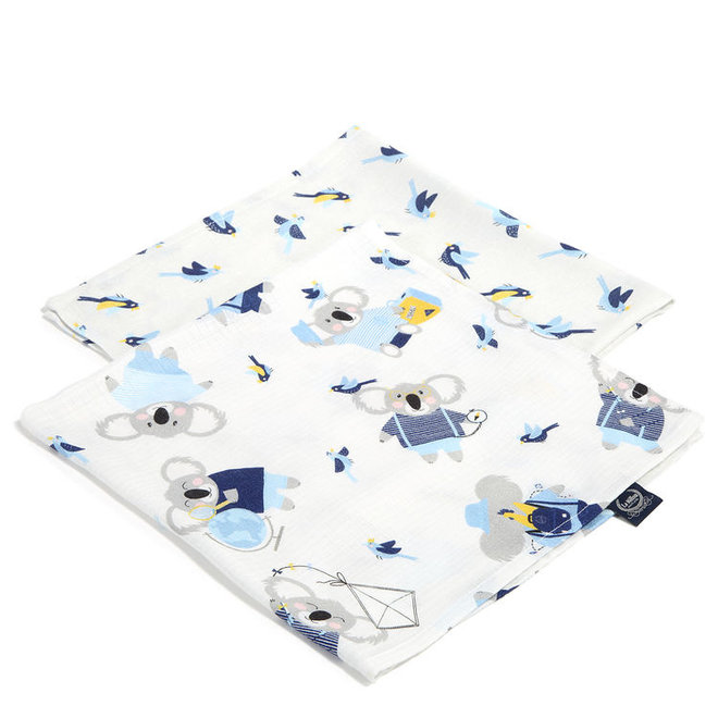 2 PACK SMALL MUSLIN SWADDLE 100% BAMBOO - HELLO WORLD & BIRDS