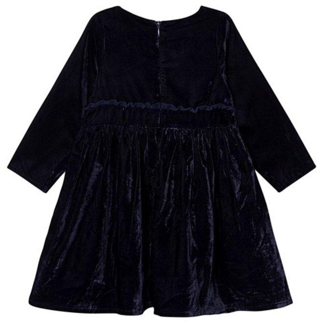 Girls Navy Blue Velvet Dress
