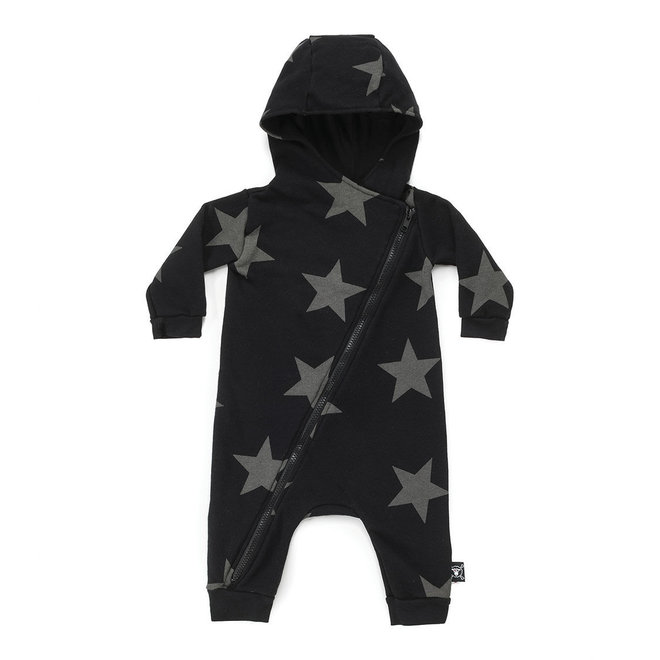 Nununu Star Zipped Hooded Overall-Black