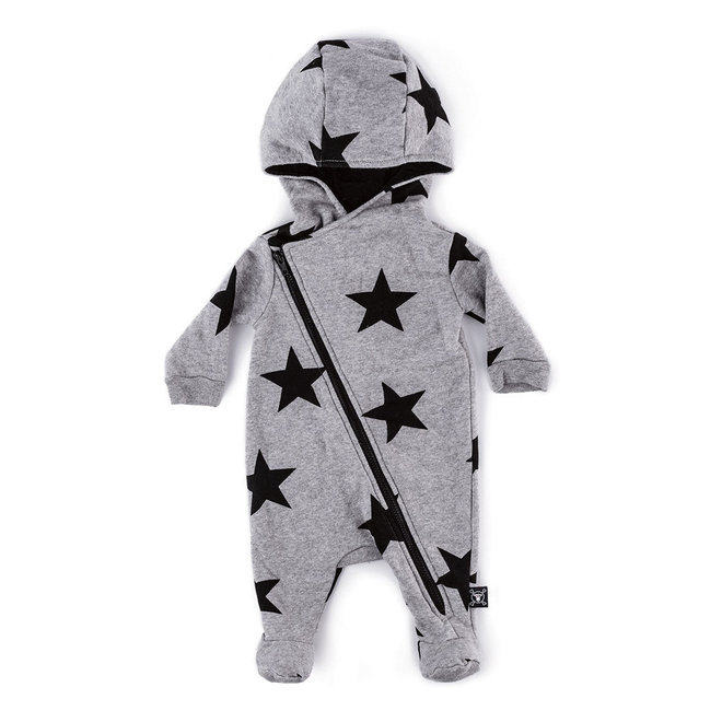 Nununu Star Zip Footed Overall Heather Grey
