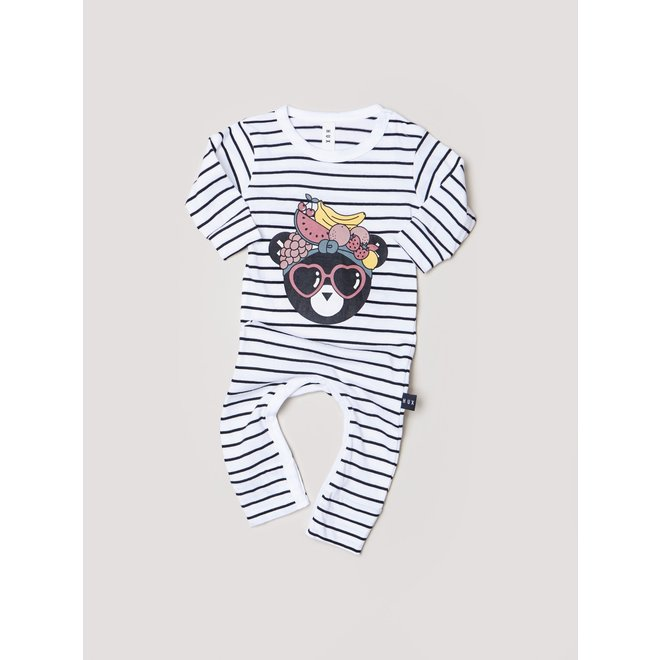 Huxbaby Fruit Bear Romper-Black+White