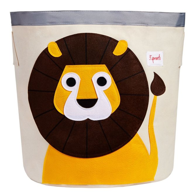 3 Sprouts Lion Storage Bin - Yellow