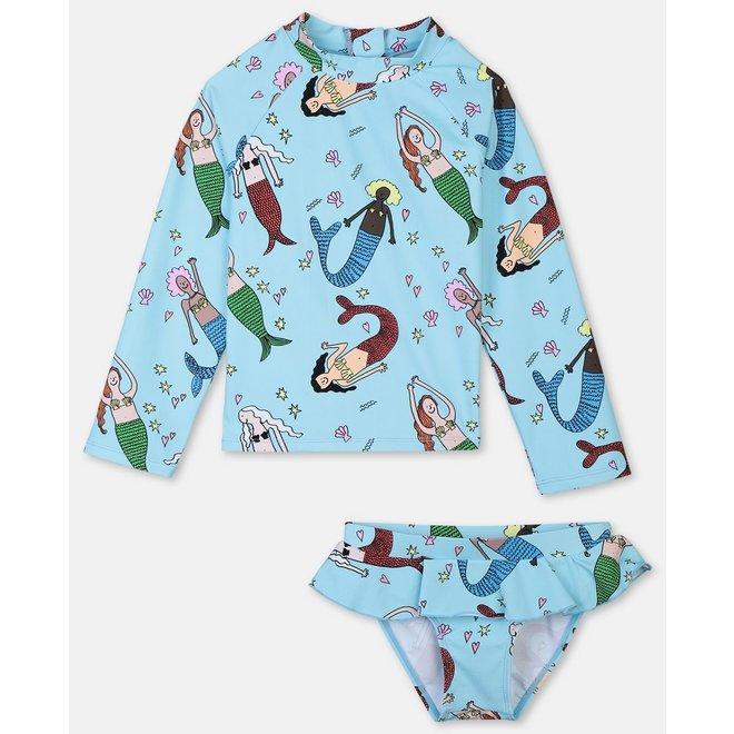 Kid Girl Mermaid Print Rashguard Set