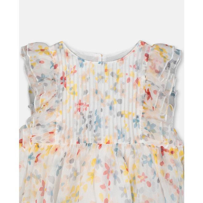 Baby Girl Sleeveless Splash Flowers Silk Dress