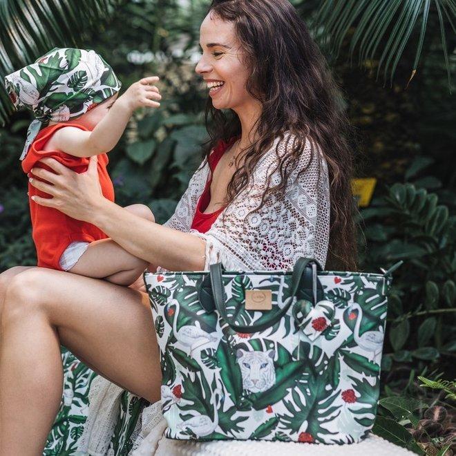 FEERIA PREMIUM ZIP MEDIUM BAG WITH A CLUTH - MOONLIGHT SWAN