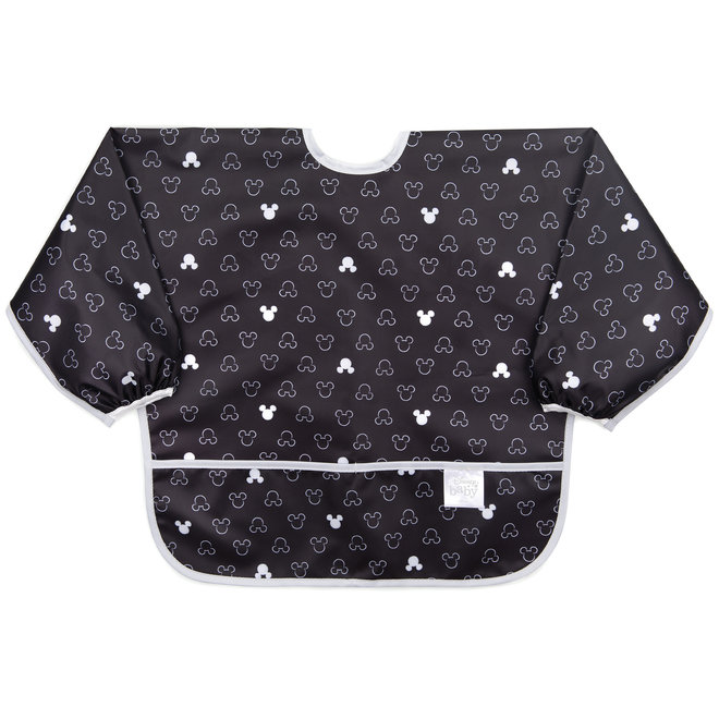 Bumkins - Disney - Sleeved Bib - Mickey Mouse Icon B&W
