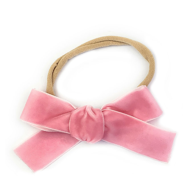 Baby Wisp - Headband - Velvet Bow - Light Pink