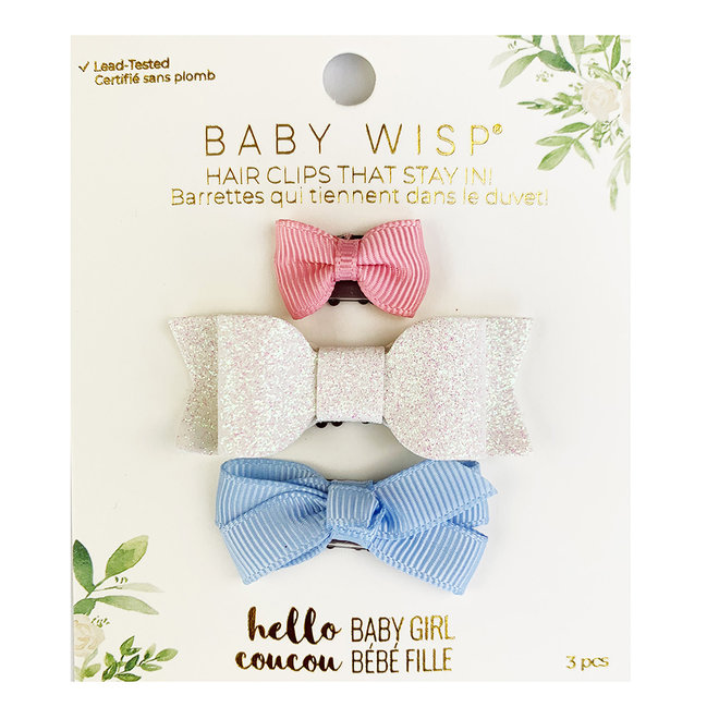 Baby Wisp - Mini Latch - 3pk Bows - Pnk,Wht Glitter,BlueBell