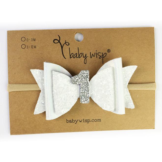 Baby Wisp - First Birthday Headband - White Glitter