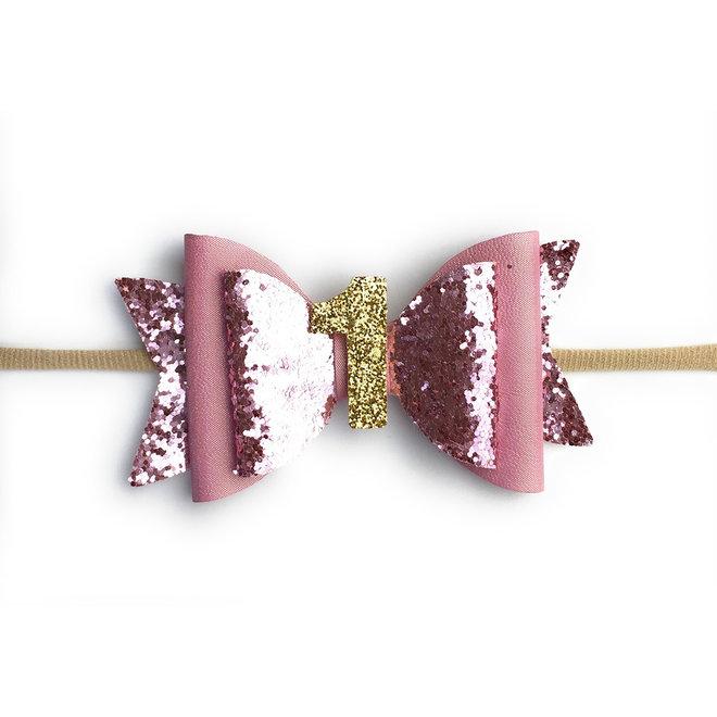 Baby Wisp - First Birthday headband- Pink Glitter