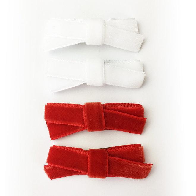 Baby Wisp - Velvet Hand Tied Bows 4 pack - Red & White