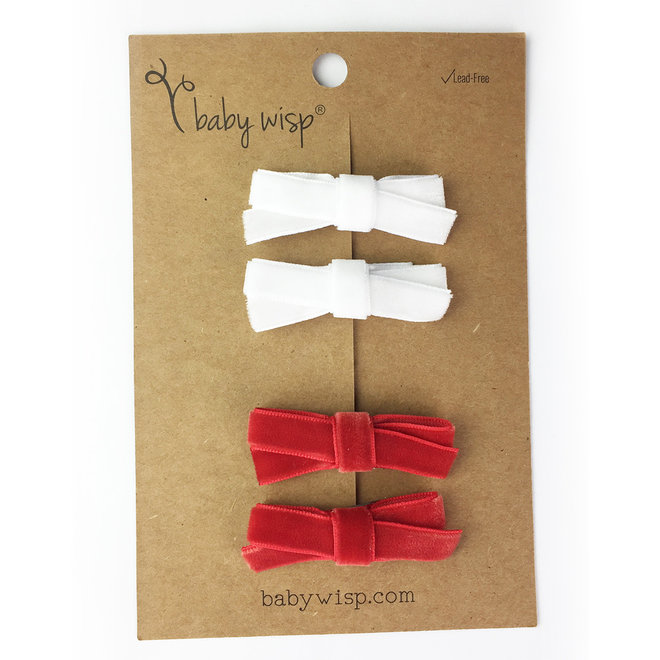 Baby Wisp - Velvet Hand Tied Bows 4 pack - Red & White