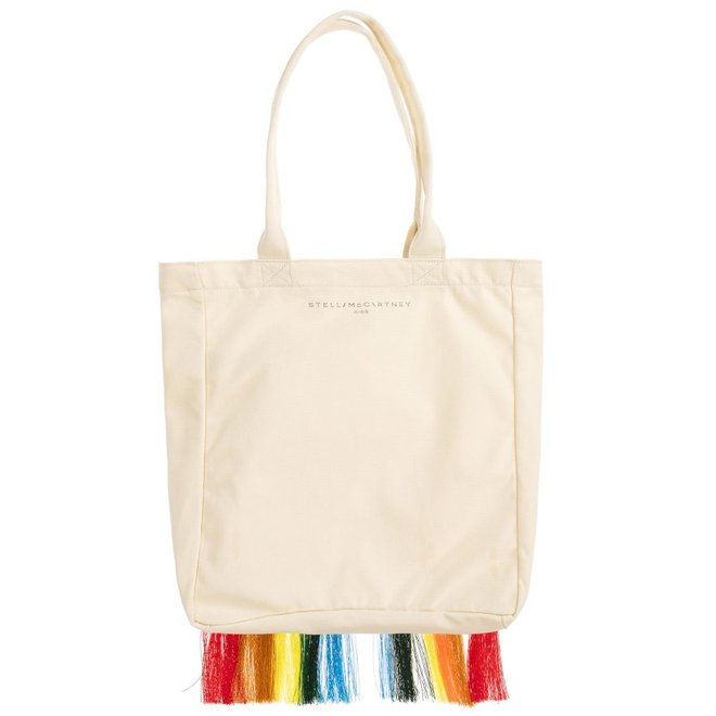CANVAS RAINBOW TOTE BAG WITH FRINGE