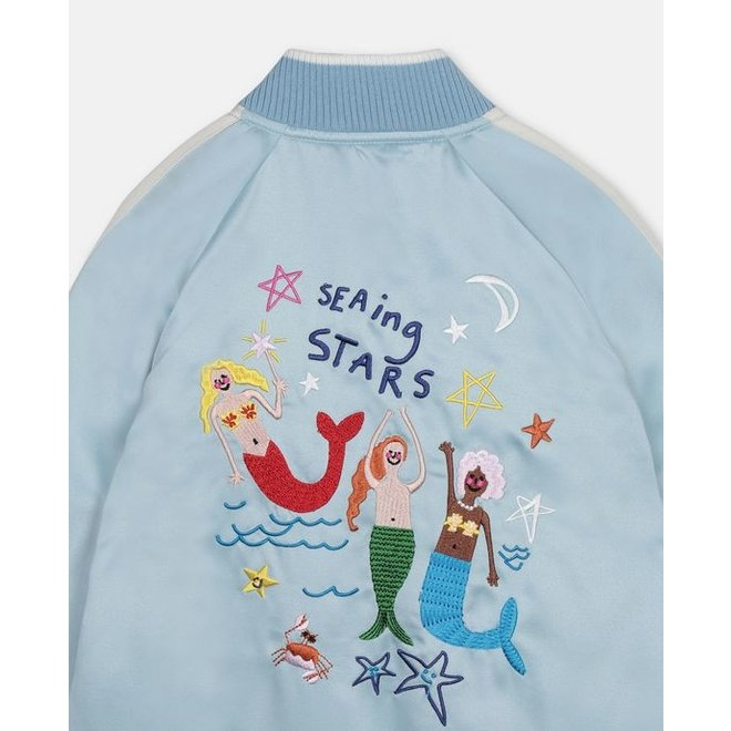 KID GIRL SATIN BOMBER WITH MERMAID EMBRO