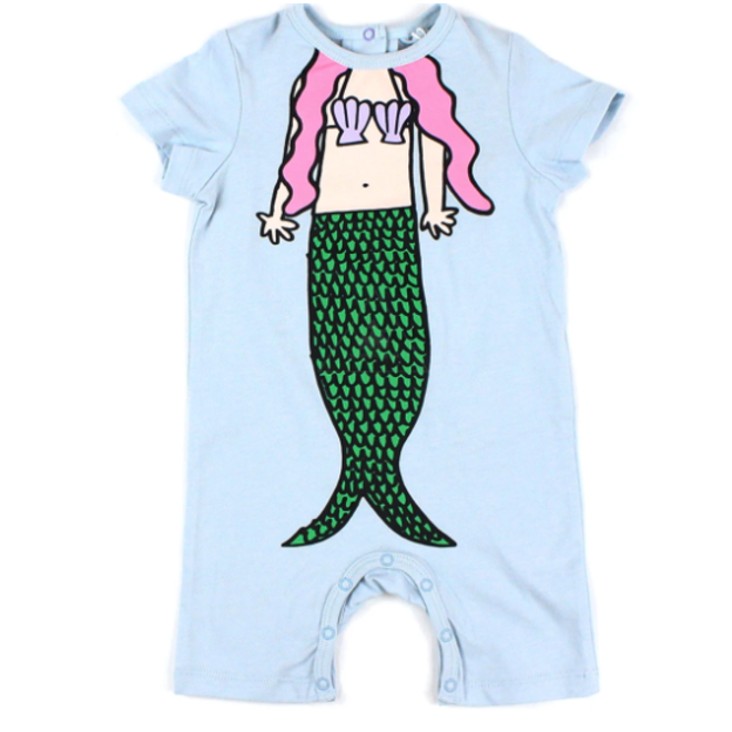 BABY GIRL MERMAID PRINT SS ROMPER