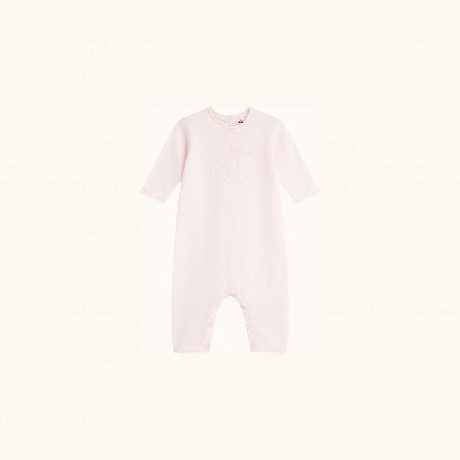 Bonpoint Pink Cotton Cherry Logo Footless Babygrow