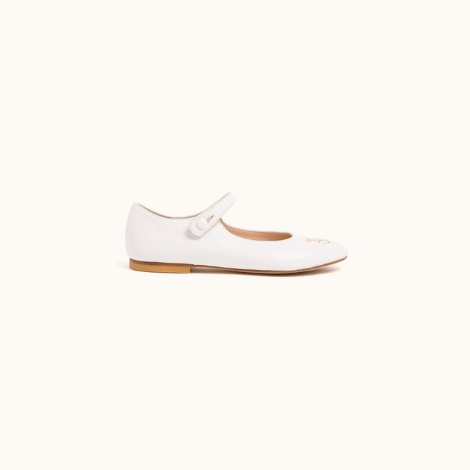 Bonpoint Kids Cherry Logo Leather Mary Janes