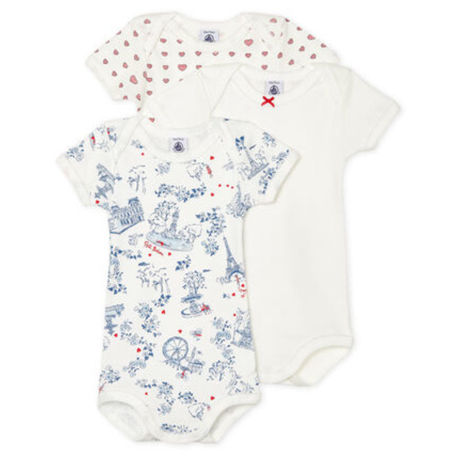 Baby Girls' Short-Sleeved Bodysuit - 3Pcs Set Heart